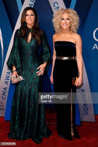 Karen Fairchild and Kimberly Schlapman attend the 51st annual CMA Awards at the Bridgestone Arena on November 8 2017 in Nashville Tennessee