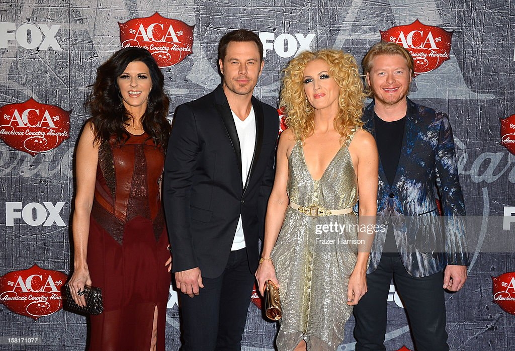 Karen Fairchild, Jimi Westbrook, Kimberly Roads Schlapman and Phillip Sweet of Little Big Town arrive at the 2012 American Country Awards at the Mandalay Bay Events Center on December 10, 2012 in Las Vegas, Nevada.