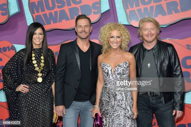 Karen Fairchild Jimi Westbrook Kimberly Schlapman and Philip Sweet of 'Little Big Town' attend the 2014 CMT Music awards at the Bridgestone Arena on...