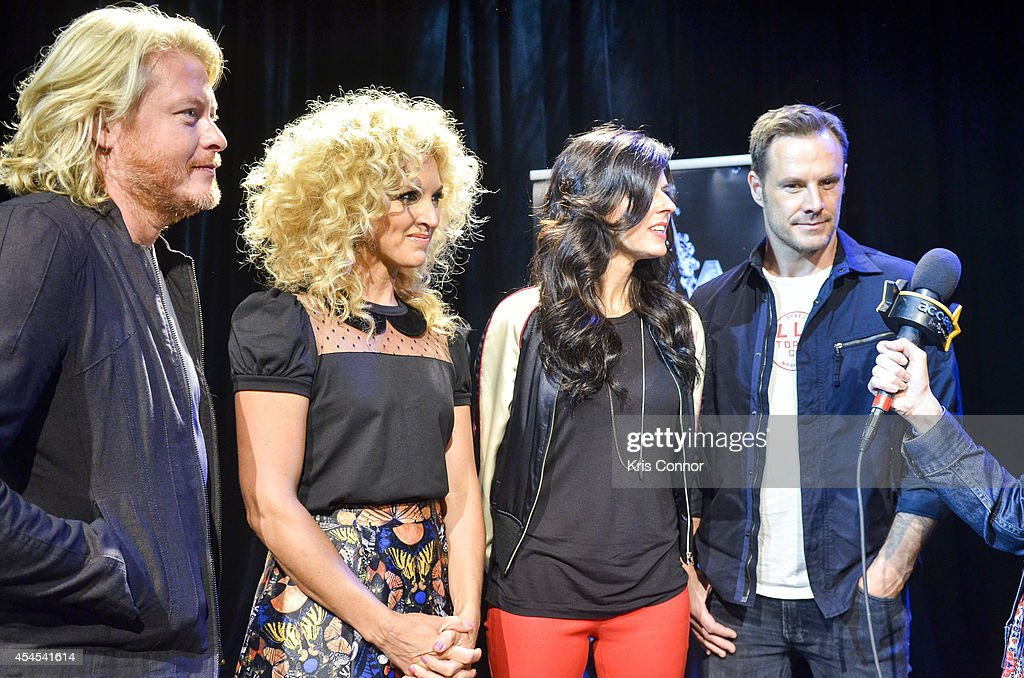 Karen Fairchild, Kimberly Schlapman, Jimi Westbrook and Phillip Sweet speak during the 48th Annual CMA Awards Nominees Announcement at Best Buy Theater on September 3, 2014 in New York City.