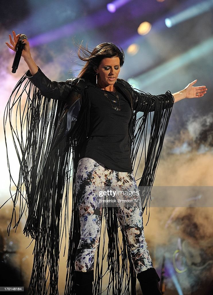 Karen Fairchild of Little Big Town performs at LP Field during the 2013 CMA Music Festival on June 7, 2013 in Nashville, Tennessee.