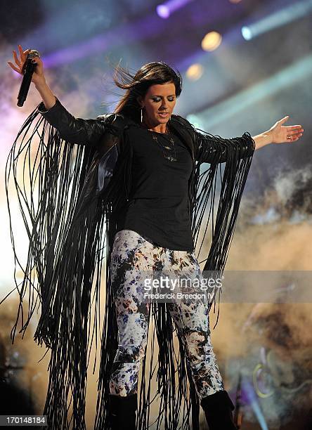 Karen Fairchild of Little Big Town performs at LP Field during the 2013 CMA Music Festival on June 7 2013 in Nashville Tennessee