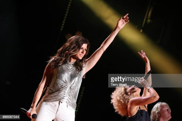 Karen Fairchild of Little Big Town performs during day 4 of the 2017 CMA Music Festival on June 11 2017 in Nashville Tennessee