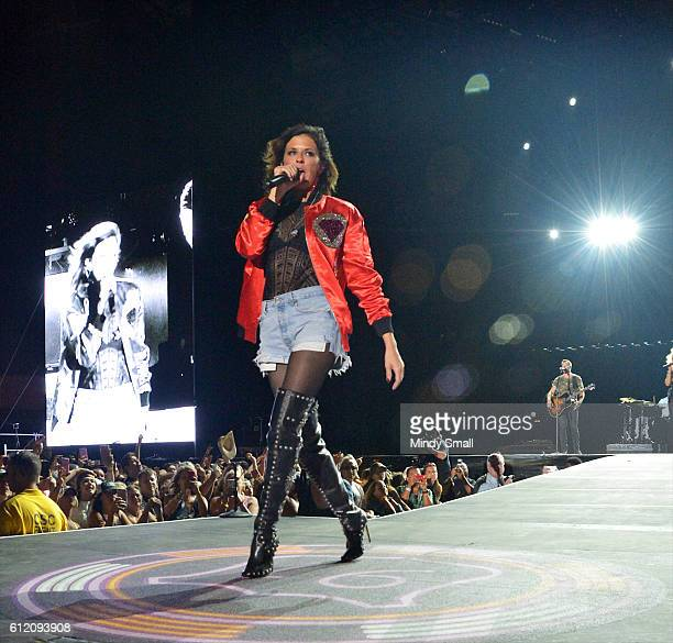 Karen Fairchild of Little Big Town performs during the Route 91 Harvest country music festival at the Las Vegas Village on October 2 2016 in Las...