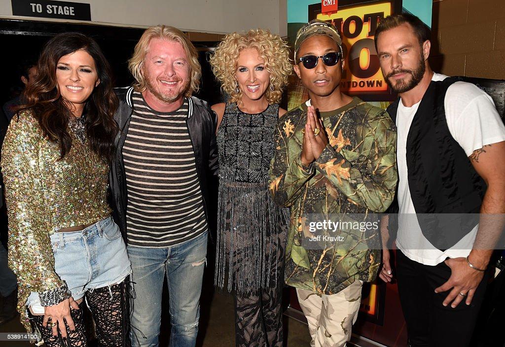 Karen Fairchild Phillip Sweet Kimberly Schlapman Pharrell Williams and Jimi Westbrook attend the 2016 CMT Music awards at the Bridgestone Arena on...