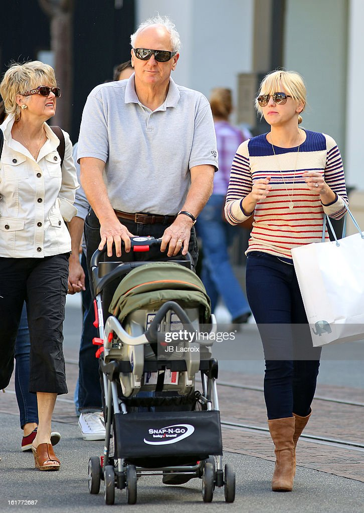 Karen Faris, Jack Pratt, Jack Faris and Anna Faris are seen at the Grove on February 15, 2013 in Los Angeles, California.