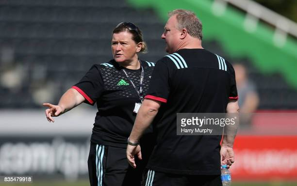 Karen Findlay and Gary Street joint head coaches of Harlequins Ladies look on during the Harlequins Photocall at The Stoop on August 19 2017 in...