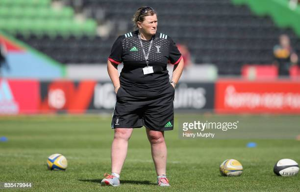 Karen Findlay joint head coach of Harlequins Ladies looks on during the Harlequins Photocall at The Stoop on August 19 2017 in London England