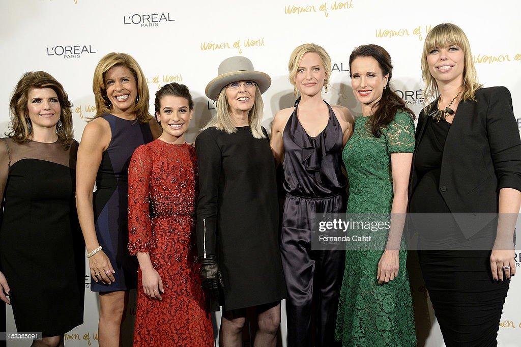 Karen Fondu, Hoda Kotb, Lea Michele, Diane Keaton, Aimme Mullins, Andie MacDowell and Nathalie Kristo attend L'Oreal Paris' Women of Worth 2013 at The Pierre Hotel on December 3, 2013 in New York City.