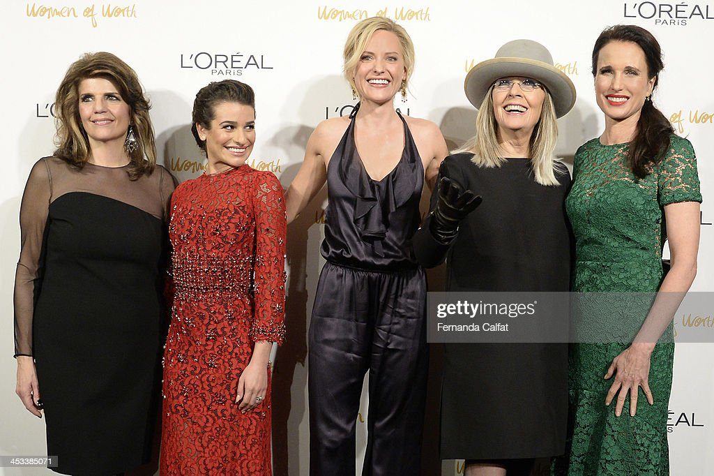 Karen Fondu, Lea Michele, Aimme Mullins, Diane Keaton and Andie MacDowell attend L'Oreal Paris' Women of Worth 2013 at The Pierre Hotel on December 3, 2013 in New York City.