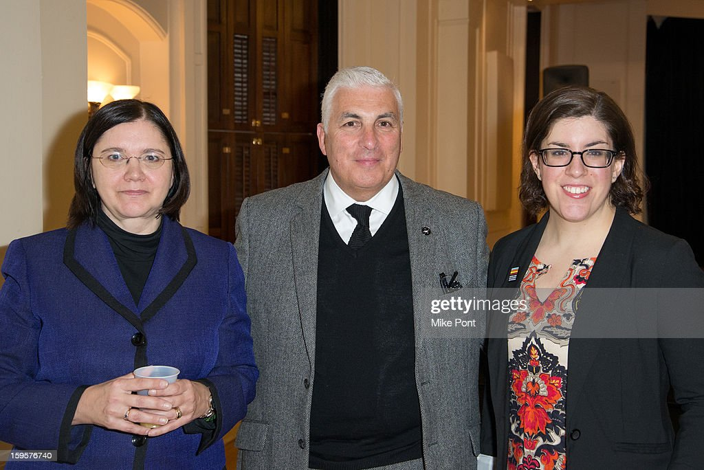 Karen Geer (L) and Mitch Winehouse (C) attend the Amy Winehouse Foundation Grant award presentation at Brooklyn Conservatory of Music on January 16, 2013 in New York City.