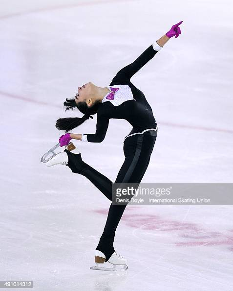 Karen Ghebbari of Morocco performs in the junior free skating exercise at the ISU Junior Grand Prix of Figure Skating Logrono on October 2 2015 in...