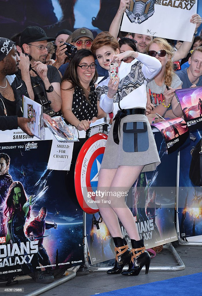 <a gi-track='captionPersonalityLinkClicked' href=/galleries/search?phrase=Karen+Gillan&family=editorial&specificpeople=6876471 ng-click='$event.stopPropagation()'>Karen Gillan</a> attends the European Premiere of 'Guardians of the Galaxy' at Empire Leicester Square on July 24, 2014 in London, England.