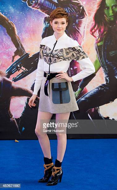 Karen Gillan attends the UK Premiere of 'Guardians of the Galaxy' at Empire Leicester Square on July 24 2014 in London England
