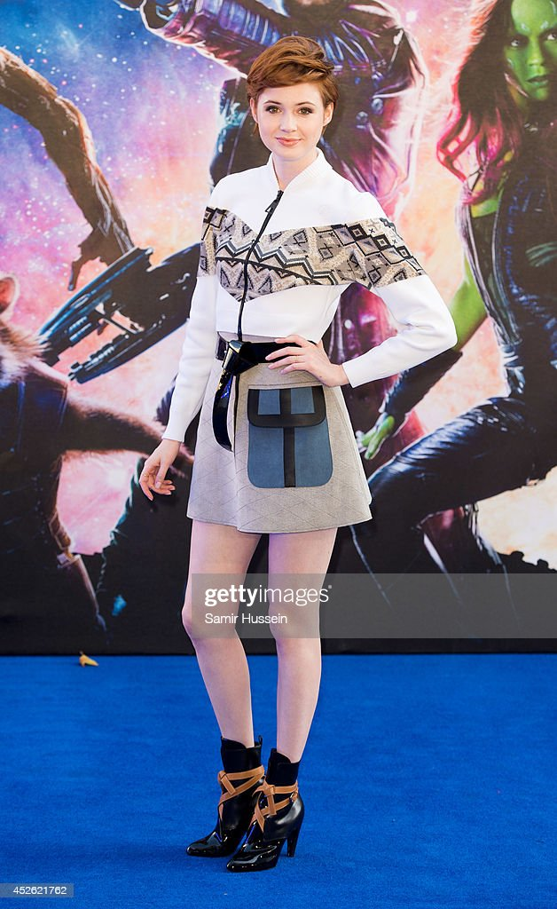 <a gi-track='captionPersonalityLinkClicked' href=/galleries/search?phrase=Karen+Gillan&family=editorial&specificpeople=6876471 ng-click='$event.stopPropagation()'>Karen Gillan</a> attends the UK Premiere of 'Guardians of the Galaxy' at Empire Leicester Square on July 24, 2014 in London, England.