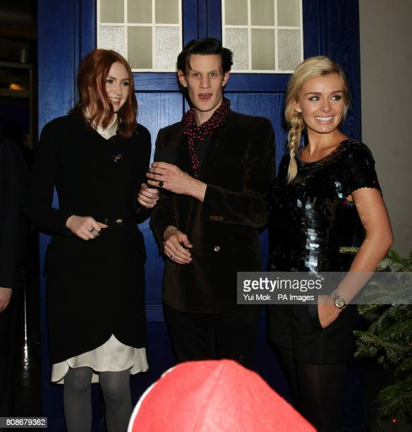 Karen Gillan Matt Smith and Katherine Jenkins attend a preview screening for the Doctor Who Christmas Special at BFI Southbank London
