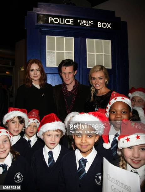 Karen Gillan Matt Smith and Katherine Jenkins attending a preview screening for the Doctor Who Christmas Special along with pupils from St Stephen's...