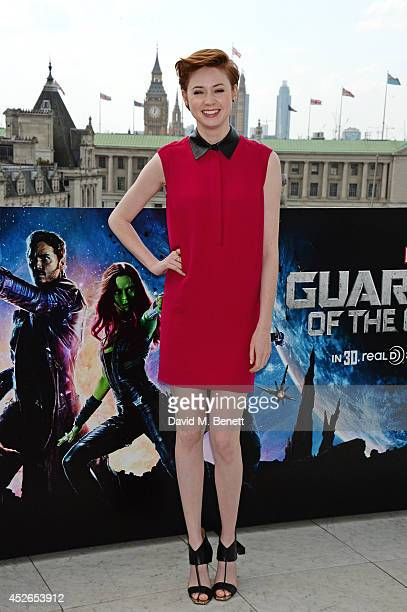 Karen Gillan poses at the 'Guardians of the Galaxy' photocall at The Corinthia Hotel on July 25 2014 in London England