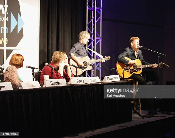 Karen Glauber President of Hits Magazine and musicians Britt Daniel Jeremy Messersmith Matt Caws and Steve Wynn of The Baseball Project speak onstage...