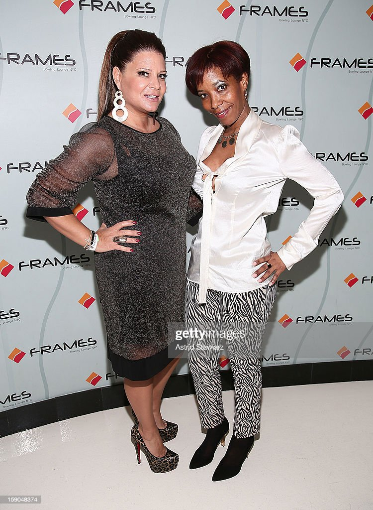 Karen Gravano and Sibrena Stowe attend VH1's 'Mobwives' Season 3 Premiere Viewing Party at Frames Bowling Lounge on January 6, 2013 in New York City.
