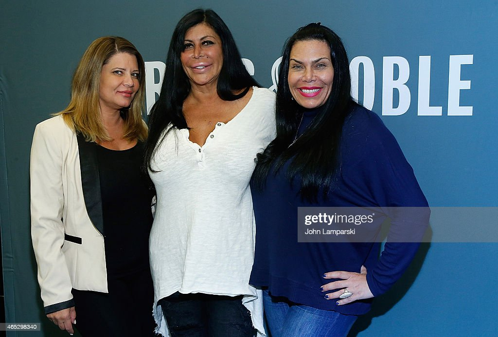 Karen Gravano 'Big' Ang Raiola and Renee Graziano of the 'Mob Wives' Visit Barnes Noble Tribeca at Barnes Noble Tribeca on March 5 2015 in New York...