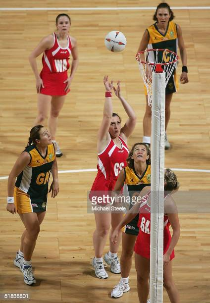 Karen Greig of England shoots during the second International Netball match between England and South Africa at the MEN Arena on December 8 2004 in...