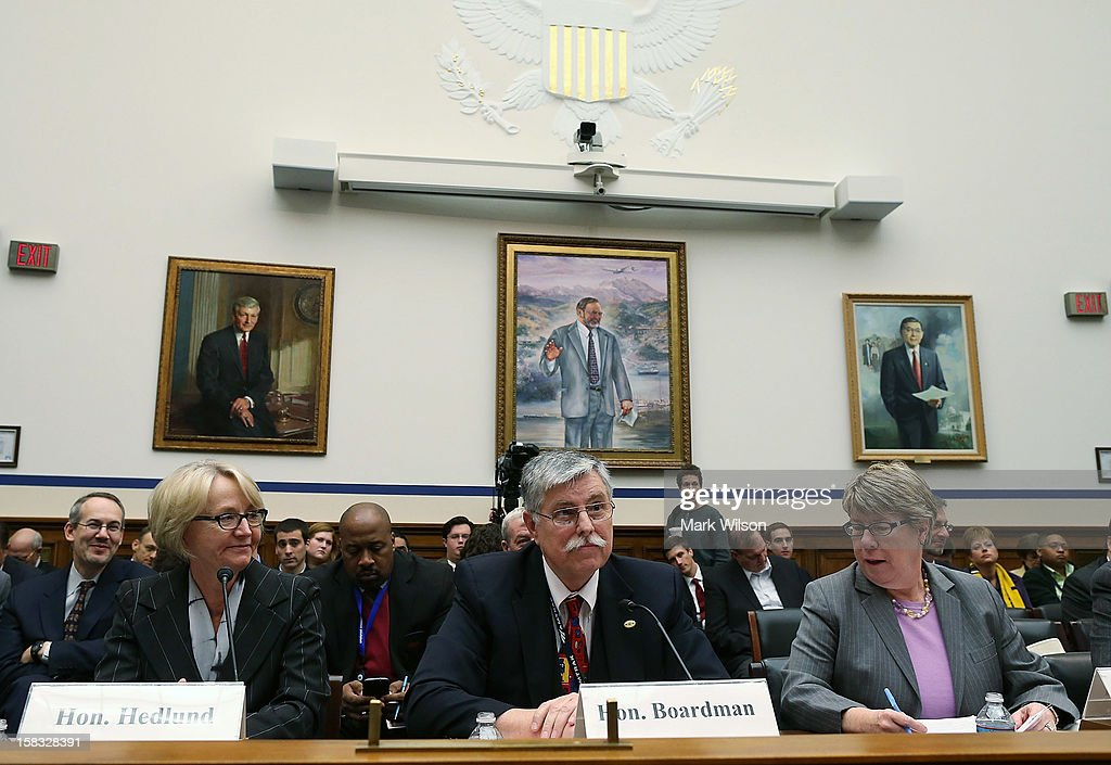 , Karen Hedlund, deputy administrator of the Federal Railroad Administration, Joseph Boardman, president and CEO of Amtrak and Joan McDonald, commissioner of the New York State Department of Transportation, participate in a House Transportation and Infrastructure Committee hearing, on December 13, 2012 in Washington, DC. The committee is hearing testimony on options for high speed rail development for the northeast corridor, and opportunities for private sector.