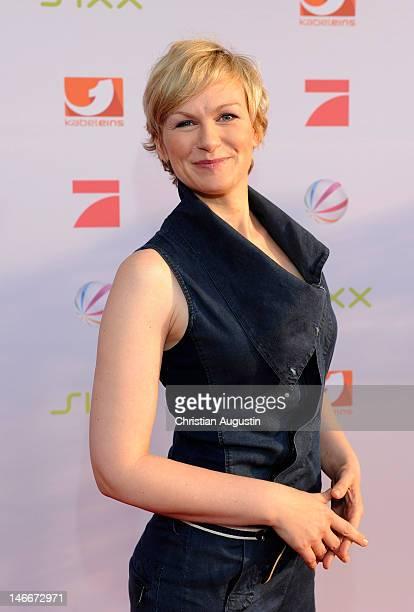 Karen Heinrichs attends photocall of ProSiebenSat1 press conference at Hamburg Cruise Center on June 20 2012 in Hamburg Germany