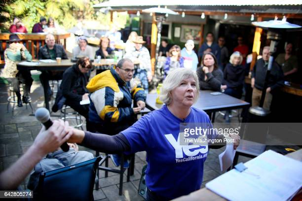 Karen herman head of YesCalifornia org leads a meeting for the Yes California and the California Sucessionist movement at The Hole in the Wall bar in...