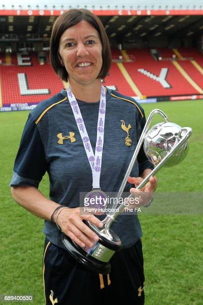 Karen Hills manager of Tottenham with the trophy after the FA Women's Premier League Playoff Final between Tottenham Hotspur Ladies and Blackburn...