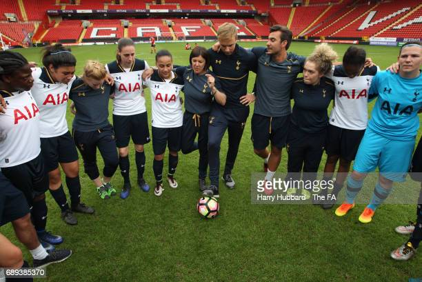 Karen Hills Tottenham manager talks to the players after the FA Women's Premier League Playoff Final between Tottenham Hotspur Ladies and Blackburn...