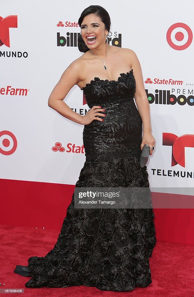 Karen Hoyos arrives at Billboard Latin Music Awards 2013 at Bank United Center on April 25, 2013 in Miami, Florida.
