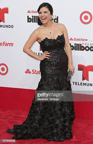 Karen Hoyos arrives at Billboard Latin Music Awards 2013 at Bank United Center on April 25 2013 in Miami Florida