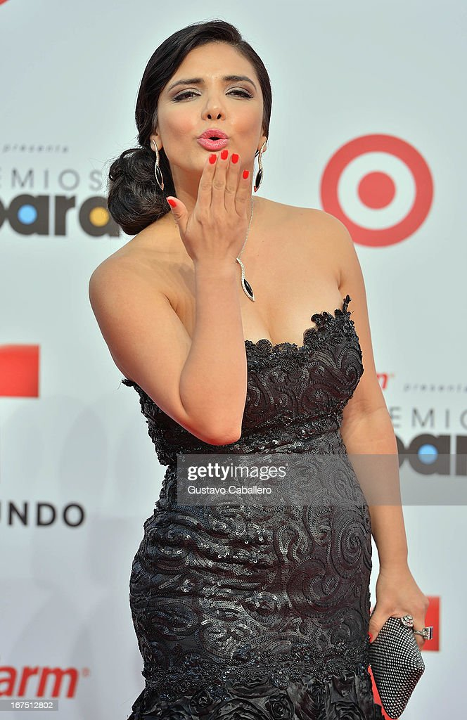 Karen Hoyos arrives at Billboard Latin Music Awards 2013 at Bank United Center on April 25, 2013 in Miami, Florida.