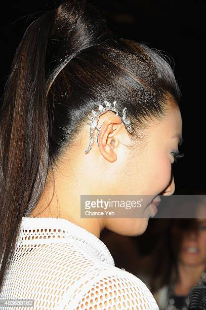 Karen Hu attends the Vivienne Tam Fashion Show during MercedesBenz Fashion Week Fall 2015 at The Theatre at Lincoln Center on February 16 2015 in New...