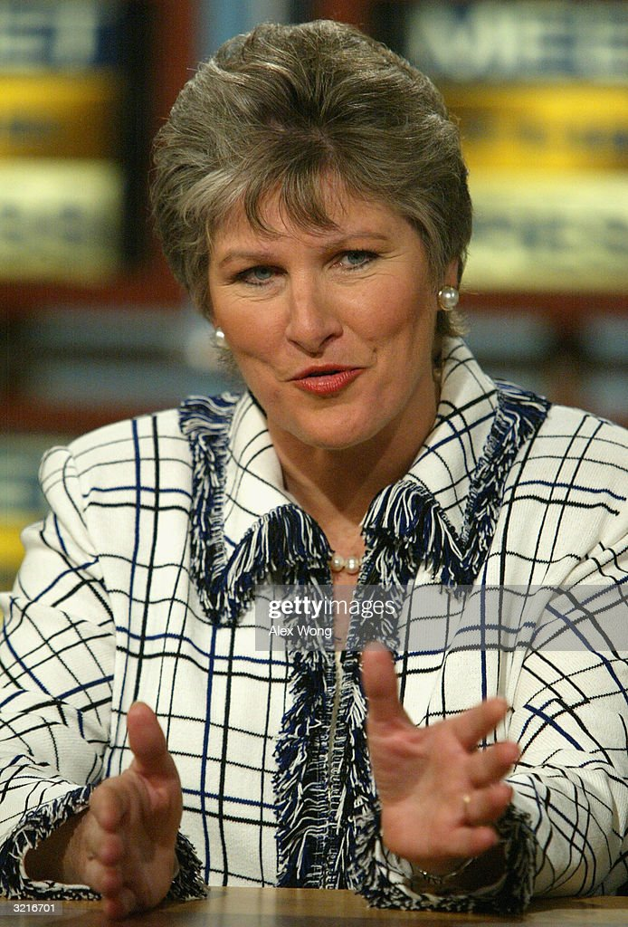 Karen Hughes former counselor to US President George W Bush speaks on NBC's 'Meet the Press' April 4 2004 during a taping at the NBC studios in...