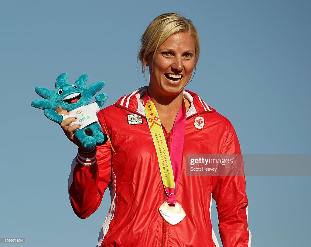 Karen Irene Stevens of Canada on the podium after winning the Bronze medal in the Women's Overall at Boca Laguna Water Ski Club during Day Eight of the XVI Pan American Games on October 22, 2011 in Guadalajara, Mexico.