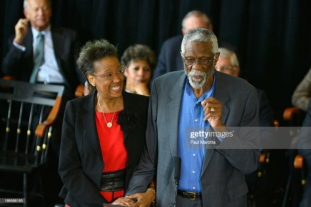 Karen Kenyatta Russell and Bill Russell attend the unveiling of the statue in honor of Boston Celtics legend Bill Russell by artist Ann Hirsch at Boston City Hall Plaza on November 1, 2013 in Boston, Massachusetts.
