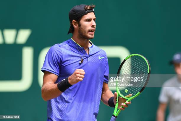 Karen Khachanov from Russia reacts during his match against Andrey Rublev from Russia during the ATP tournament tennis match in Halle western Germany...