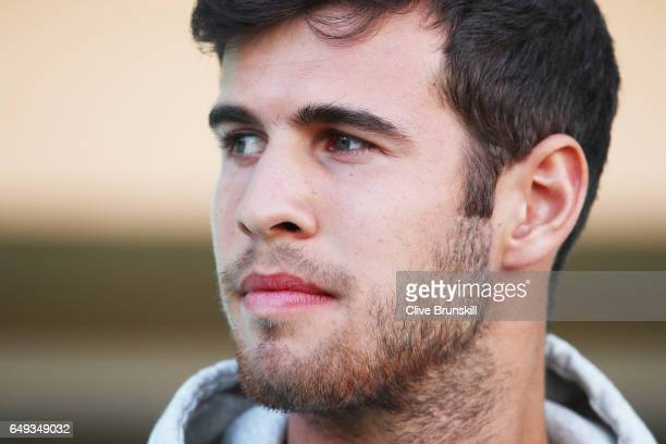 Karen Khachanov of Russia at the ATP launch event for the Next Gen ATP Finals MilanItaly in November during day two of the BNP Paribas Open at Indian...