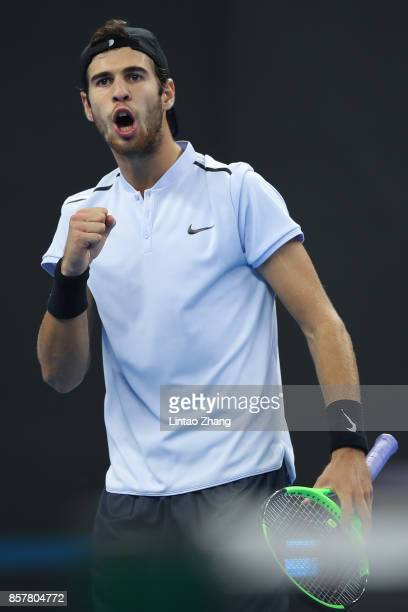 Karen Khachanov of Russia celebrates a point against Rafael Nadal of Spain during the Men's singles 2rd round on day six of 2017 China Open at the...