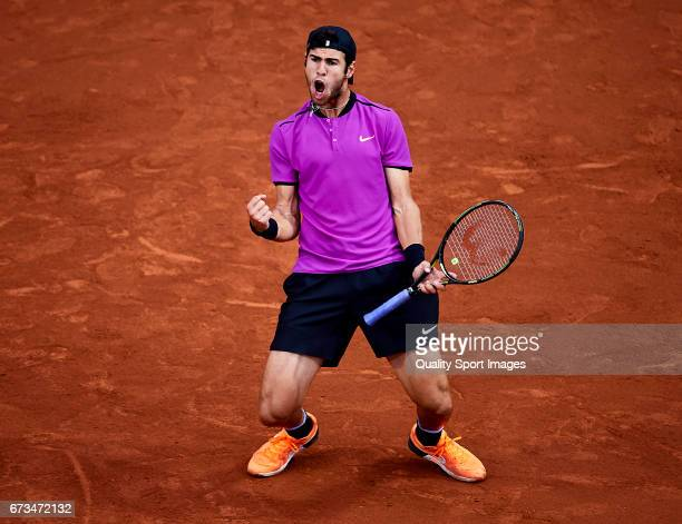 Karen Khachanov of Russia celebrates after wining a point at his match against Pablo Cuevas of Uruguay during the Day 3 of the Barcelona Open Banc...
