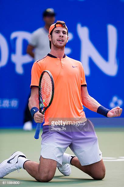 Karen Khachanov of Russia celebrates during the match against Feliciano Lopez of Spain during Day 5 of 2016 ATP Chengdu Open at Sichuan International...
