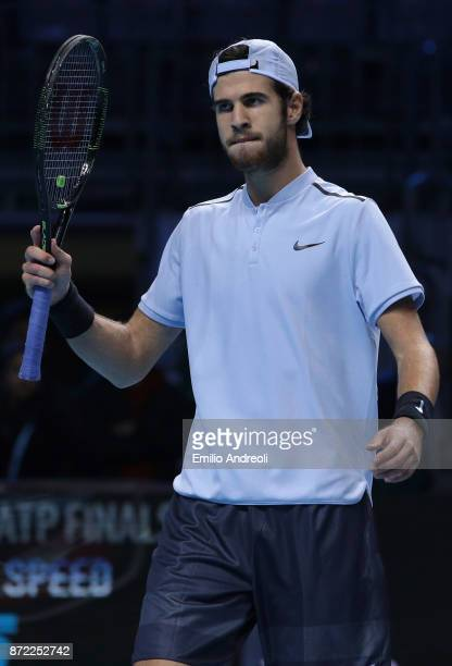 Karen Khachanov of Russia gestures in his group stage match against Borna Coric of Croatia during Day 3 of the Next Gen ATP Finals on November 9 2017...