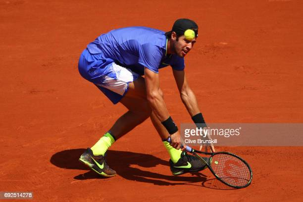 Karen Khachanov of Russia hits a backhand during the men's singles fourth round match against Andy Murray of Great Britain on day nine of the 2017...
