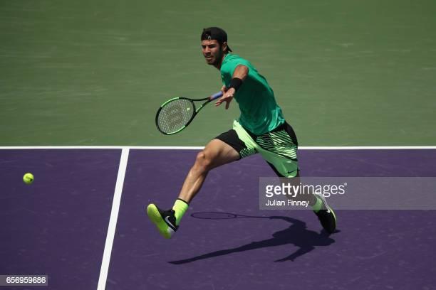 Karen Khachanov of Russia in action against Diego Schwartzman of Argentina at Crandon Park Tennis Center on March 23 2017 in Key Biscayne Florida