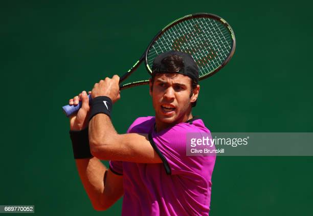 Karen Khachanov of Russia in action against Nicolas Mahut of France in his first round match on day three of the Monte Carlo Rolex Masters at...