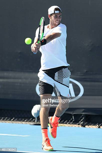 Karen Khachanov of Russia plays a backhand in his first round match against Adrian Nannarinno of France on day one of the 2017 Australian Open at...