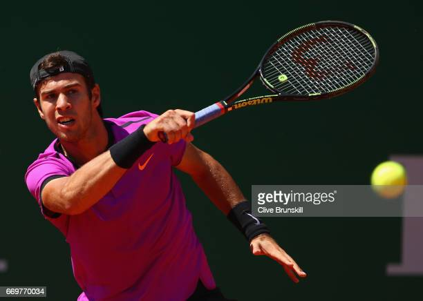 Karen Khachanov of Russia plays a forehand against Nicolas Mahut of France in his first round match on day three of the Monte Carlo Rolex Masters at...