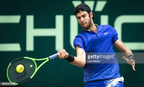 Karen Khachanov of Russia plays a forehand during his semi final match against Roger Federer of Switzerland during Day 8 of the Gerry Weber Open 2017...